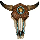 LL Home Bull Skull W/Tooled Leather, 12699, Brown, One Size