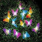 Butterfly Solar String Lights Outdoor Berocia 12 LED Waterpoof LED Solar Butterfly Lights Outdoor Indoor for Bedroom