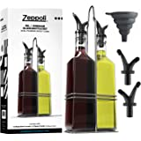 Royal Oil and Vinegar Bottle Set with Stainless Steel Rack and Removable Cork Dual Olive Oil Spout Olive Oil Dispenser 17Oz O