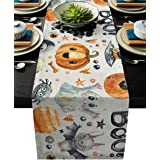 ARTSHOWING Halloween Table Runners Pumpkin Ghost Trick or Treat Table Runner Event Party Supplies Fabric Decorations for Wedd