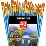 BOSOBO Paint Brushes Set, Round Pointed Tip Paintbrushes Nylon Hair Artist Acrylic Paint Brush for Acrylic Oil Watercolor, Fa