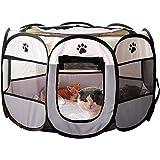 haos 八角形 ケージ メッシュサークル 折り畳み式 持ち運べに便利 軽量 防水 ペットテント ハウス 通気性抜群 屋内屋外 犬/猫用 収納バッグ付き (グレー,XL)