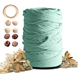Macrame Cotton Cord 5mmx109 Yard 4 Strand, Artstudy Natural Handmade 4 Twisted Cotton Rope for Wall Hanging Weaving Tapestry