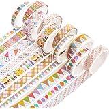 Yubbaex マスキングテープ 金箔押し 女の子らしいスタイル 薄いです プレゼント包装、DIY工芸品、ノートの装飾に使える (パーティー金 10巻)