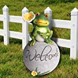 Claratut Frog Statue Garden Decor Lawn Ornament, Welcome Frog Statue on a Rock for Patio, Yard, Lawn, Outdoor Decor Ornament,