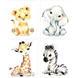 "Wall Art for Nursery Decor, Watercolor Safari Animal Wall Art Print - Baby Animal Pictures for Kid Bedroom - 8"" x10""Unframed"