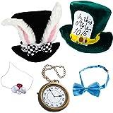 Tigerdoe Rabbit Costume - 5 Pc Set - White Rabbit Costume - Mad Hatter Costume - Bunny Costume