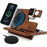 Wood Phone Docking Station Ash Key Holder Wallet Stand Watch Organizer Men Gift Husband Wireless Charging Pad Slim Birthday N
