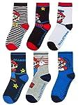 Super Mario Boys Assorted 6 Pack Multi-coloured Sock Set