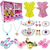 WTOR Princess Dress Up Shoes Toy 4 Girl Plastic Shoes and Jewelry Accessories Role Play Collection Shoe Set Gift for Toddlers