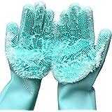 Washing Cleaning Gloves, Magic Saksak 1 PAIR Reusable Silicone Brush Scrubber Gloves Heat Resistant for Dish washing, Kitchen
