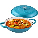 Bruntmor Enameled Cast Iron Cookware Shallow Casserole Braiser Pan, with Steel Knob Cover and Double Loop Handle. Round Cast