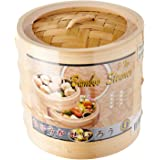 Dolphin Collection FJ7915 Bamboo Steamer 2-Tier/Cover 15cm Brown