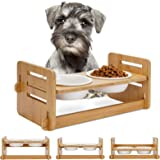 WANTRYAPET Adjustable Bamboo Elevated Pet Feed Bowl - Adjusts to 3 Heights, Raised Dog Cat Pet Bowls Food and Water Bowl Stan