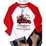 This is My Christmas Movie Watching Shirts Women Funny Red Truck Christmas Tree Cute 3/4 Sleeve Tee Tops Blouse