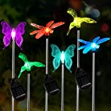 [6-Pack] Garden Solar Lights Outdoor,OxyLED Figurine Stake Light, Multi-Color Changing Decorative Landscape Lighting LED Humm