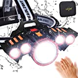 LETOUR LED Headlamps, Smart Gesture Sensing 5 Leds 4 Modes Headlights Rechargeable Zoomable Super Bright Headlights Waterproo