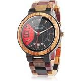 BOBO BIRD Q13-1 メンズ レディース 木製腕時計 カラフル 木材 腕時計 デイデイト表示手作り クォーツ時計