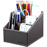 KINGFOM 3 Slot Pu Leather Desk Remote Controller Holder Organizer; Home Sundries Storage Box; Tv Guide/Mail/Cd Organizer/Cadd