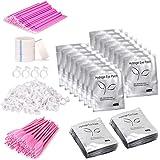 Eyelash Extension Supplies 4x100 Packs - Beauty Star 100 Pairs Under Eye Gel Pads, 100 Disposable Mascara Brushes Wands, 100
