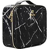 Makeup Case Cosmetic Bag Travel Makeup Train Case Black with 10 Pcs Premium Makeup Brushes Set Kit Gold, Blender Sponge and B