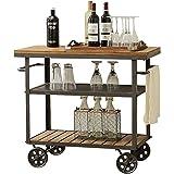 Mobile Drink Cart Bar Serving Cart Rustic Mobile Kitchen Industrial Serving Trolley Furniture Decoration Shelves (Size : 23.6