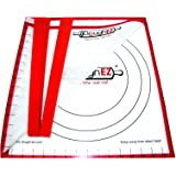 DoughEZ Extra Large 17.5 x 32 Non-Slip Silicone Pastry Dough Rolling Mat and 6 Guide Sticks - BPA Free, Approved materials