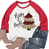 LUKYCILD Women Plus Size Merry Bright Buffalo Plaid Leopard Christmas Tree Graphic Splicing Baseball Shirt Top
