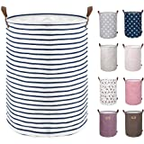 DOKEHOM 17.7-Inches Freestanding Laundry Basket with Lid, Collapsible Large Drawstring Clothes Hamper Storage with Leather Ha
