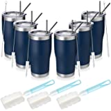 MANYHY 20oz Stainless Steeel Insulated Tumbler, 6 Pack Bulk Travel Mug with Lid, Straw and Brush, Double Wall Vacuum Powder C