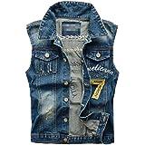 chenshiba-AU Men's Jeans Vest Cowboy Hole Denim Waistcoat Sleeveless Jacket