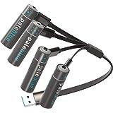 【Pale Blue】単3形 充USBスマート充電池 4本セット USB充電式 リチウムポリマー 1500mAh 1000回使用可能 4in1 Micro USBケーブル付き 急速充電