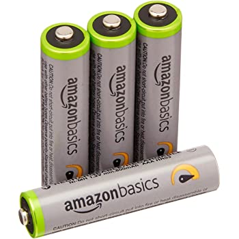 Amazonベーシック 高容量充電式ニッケル水素電池単4形4個パック(充電済み、最小容量 800mAh、約500回使用可能)