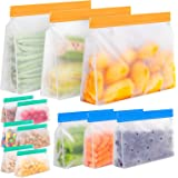 Reusable Storage Bags Stand Up,12 Pack Reusable Freezer Bags, Leakproof Reusable Food Storage Bags, Reusable Gallon Bags, Reu