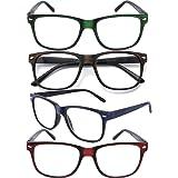 CRGATV 4 Pack Blue Light Blocking Reading Glasses Computer Readers for Men Women with Spring Hinge