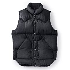 Down Vest Denim: Black