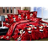 Haru Homie 100% Cotton Kids Reversible Printing Mickey Mouse Couples Duvet Cover 3PCS Bedding Set with Zipper Closure - Ultra