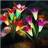 Solar Lights Outdoor - New Upgraded Solar Garden Lights, Multi-Color Changing Lily Solar Flower Lights for Patio,Yard Decorat