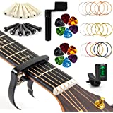 Acoustic Guitar Strings Changing Kit Tool Kit (Strings Tuner Picks Capo Pins String Cutter and Winder)