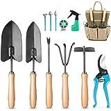 MOSFiATA Garden Tools Set, 12 Pieces Gardening Tools Ergonomic Oak Handle and Heavy Duty Hoe Rake Trowel Transplanter Weeder