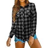 Oyamiki Women's Casual Loose Cuffed Long Sleeve Plaid Shirt V-Neck Blouses
