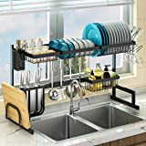 """Over Sink(24""""-40"""") Dish Drying Rack, Adjustable Large Dish Drainer for Kitchen Storage Counter Organization, 2 Tier Stainless"""