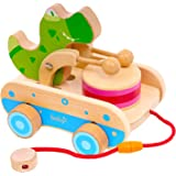 Boby Wooden Pull Toys for Toddlers, Crocodile Beating Drum Push Toy, Best Gifts for 1 2 3 Year Old Kids Boys and Girls