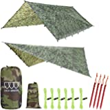 Gold Armour 12ft Extra Large Tarp Hammock Waterproof Rain Fly Tarp 185in Centerline - Lightweight Ripstop Fabric - Stakes Inc