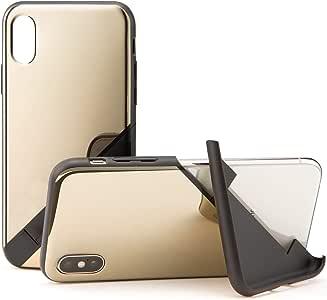 カンピーノ campino スマホケース iPhone XS ケース iPhone X ケース 対応 ミラー OLE stand スタンド機能 耐衝撃 スリム 薄型 動画 Qi ワイヤレス充電対応 ゴールド 金