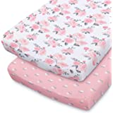 The Peanutshell Changing Pad Covers for Baby Girls   2 Pack Set   Pink Roses & Ditsy Floral