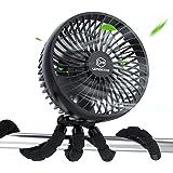 10000mAh Rechargeable Battery Powered Clip On Fan, Baby Stroller Fan, 6-Inch Handheld Fan with Flexible Tripod, 4 Speeds, 53H