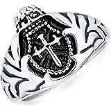 Mens Religious Crown Viking Knight Shield Maltase Fleur De Lis Cross Signet Ring for Men Oxidized Silver Tone Stainless