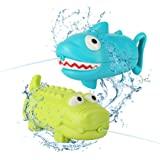 AKEROCK Bath Toys for Toddlers, 2 Water Guns (Shape of Shark & Crocodile), Bathtub Toys for Kids Ages 1 2 3 4 5 6 7 8