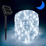 Solar Outdoor Rope Lights, 66ft 200leds Solar Powered Rope Lights Outdoor, 8 Modes Dimmable/Timer Remote String Light 3.7V/12